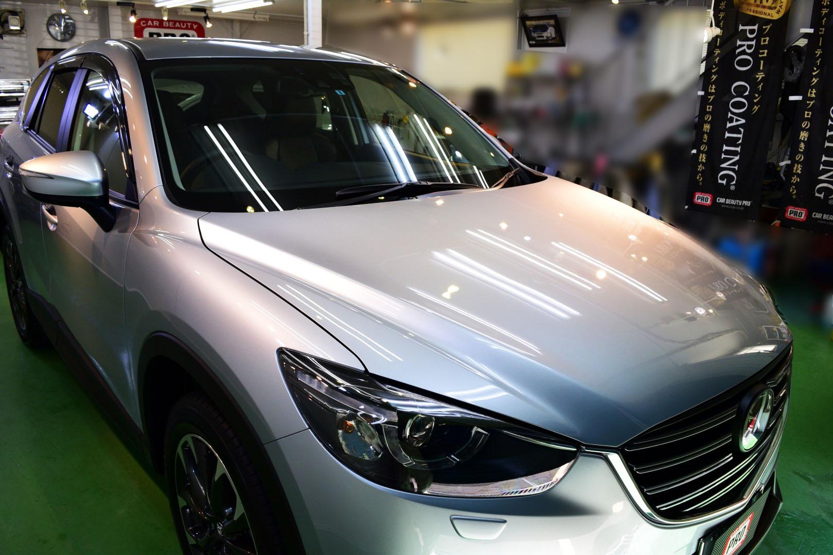 2015/10 マツダ・CX-5(ソニックシルバーメタリック)新車ミガキLEVEL0.5+PCX-S7(低撥水・艶・耐擦り傷・防汚性)ガラスコーティング)納車後すぐにご入庫となりましたCX-5  屋外駐車との事から低撥水性のPCX-S7をお勧めさせて頂きました。