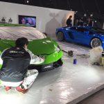 2018 札幌モーターショー 2018年1月19日より開催される札幌モーターショーの展示車両へ技術協力してきました。  カービューティープロの担当は三菱ブース  東京モーターショーを皮切りに名古屋、関西、福岡と全国を展示された車両が札幌へ  展示車両は2018年3月デビューのエクリプスクロス2台、アウトランダー、デリカD:5、e-EVOLUTIONCONCEPT。  施工車両はe-EVOLUTIONCONCEPT以外の計4台です。  PM4時までという時間制限の中できるだけのパフォーマンスを