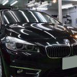2019/5 BMW・218d(ブラックサファイア)SPG Cort Type-T(完全2層式ガラスコーティング、低撥水・艶・対すり傷・防汚・耐薬品性)1年ほど前に札幌市内他社さんのコーティングを施工しておりましたが雨染みがひどいとのご相談がありました。北広島市よりご利用ありがとうございました。